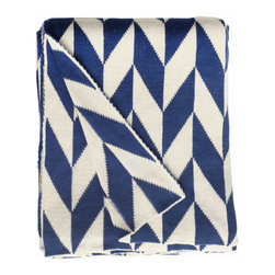 Fab Habitat - Fab Habitat Throws - Monroe-Blue & Natural - Fab Habitat features knitted cotton throws in vivid colors and patterns. From our renowned Metro collection, these throws are certain to keep you warm from the cold of winter and add a perfect accent to your sofa or bed.
