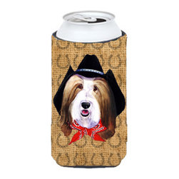 Caroline's Treasures - Bearded Collie Dog Country Lucky Horseshoe Tall Boy Koozie Hugger - Bearded Collie Dog Country Lucky Horseshoe Tall Boy Koozie Hugger Fits 22 oz. to 24 oz. cans or pint bottles. Great collapsible koozie for Energy Drinks or large Iced Tea beverages. Great to keep track of your beverage and add a bit of flair to a gathering. Match with one of the insulated coolers or coasters for a nice gift pack. Wash the hugger in your dishwasher or clothes washer. Design will not come off.