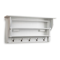 "Danya B - Accordion Drying Rack - The accordion drying rack is an attractive, functional space saver for your laundry room or bathroom. When needed it extends out easily to provide 10 hanging racks; and when not in use racks collapse under an attractive top shelf that can hold supplies or decorative items. Five large coat hooks are also provided for added functionality! Made of wood with water-resistant white finish, rack is 36"" long, 14""deep, 18"" high and extends 28.5"""