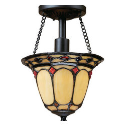 ELK Lighting - ELK Lighting 70089-1 Diamond Ring Single-Light Semi-Flush Ceiling Fixture - This Forever Lasting Collection Fits Perfectly In Just About Every D�cor.The Diamond Ring Pattern Features Oven-Bent Panels In Hues Of Honey And Amber Which Are Enhanced By An Exquisite Blend Of Neutral Toned Stones And Finished In A Stately Burnished Copper.Specifications: