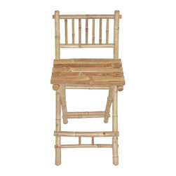 "Bamboo54 - Bamboo Folding Bar Stool - The classic bamboo folding bar stool goes perfectly with our bamboo bars or any outside or indoor bar for that matter. Folds for easy storage when not in use. Rated at 225 lbs. and measures 19"" W x 42"" H with 28"" seat height."