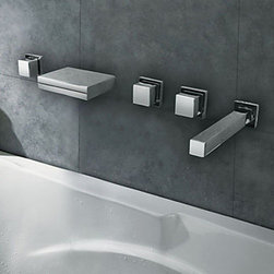 Bathtub Faucets - Chrome Finish - Stainless Steel Spout LED Thermochromic Waterfall Bathroom Tub Faucet-- FaucetSuperDeal.com