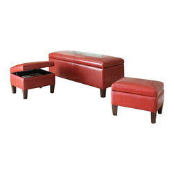 """ACMACM96025 - 3-Piece Set Ibrahim Red Leather-Like Upholstered Tufted Top Storage Bench - 3-Piece set Ibrahim Red leather like upholstered tufted top storage bedroom bench and 2 smaller storage ottomans. Bench measures 48"""" x 20"""" x 20"""" H. Small storage ottomans measure 20"""" x 17"""" x 15"""" H. Some assembly required."""