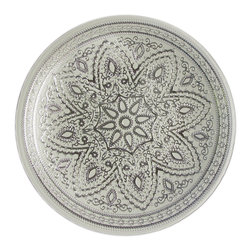 Jay Import Co. - Divine Charger Plate, Silver - Imagine arranging food around a mandala of golden coils. This charger plate will draw the eye to your table and add a feeling of tranquility to any meal.