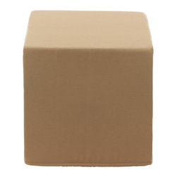 """Sunbrella - Contemporary Sunbrella Antique Beige Indoor/Outdoor Cube Pouf Ottoman - Cube pouf ottoman. Antique beige Sunbrella fabric. Heavy-duty hard poly foam filling. Zippered cover. Designed for indoor or outdoor use. Dry clean only. Made in the USA in Anderson South Carolina. 16"""" square. 16"""" high.  Cube pouf ottoman.  Antique beige Sunbrella fabric.  Heavy-duty hard poly foam filling.  Zippered cover.  Designed for indoor or outdoor use.  Dry clean only.  Made in the USA in Anderson South Carolina.  16"""" square.  16"""" high."""