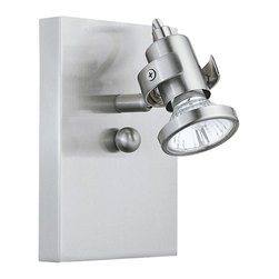 """Eglo Lighting - Contemporary Eglo Tukon 1 Matte Nickel 4 1/2"""" Wide Track Spot Light - Add directed spot lighting to your decor with this single-head track fixture. Soft matte nickel finish adorns the rectangular backplate and the cylinder style head that is fully adjustable. A decorative round accent is an unexpected detail. Can be mounted on a wall or ceiling. A chic modern design from Eglo Lighting. Sleek modern industrial style track spot light. Metal construction. Matte nickel finish. Fully adjustable head. Rectangular wall plate. One max 35 watt GU10 bulb or equivalent (not included). May be mounted on wall or ceiling. 4 1/2"""" wide. 6"""" high.  Sleek modern industrial style track spot light.  Metal construction.  Matte nickel finish.  Fully adjustable head.  Rectangular wall plate.  One max 35 watt GU10 bulb or equivalent (not included).  Line voltage.  Dry location rated.  May be mounted on wall or ceiling.  4 1/2"""" wide.  6"""" high.  4 1/4"""" deep."""