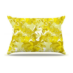 """Kess InHouse - Anneline Sophia """"Marbleized In Gold"""" Yellow Pillow Case, King (36"""" x 20"""") - This pillowcase, is just as bunny soft as the Kess InHouse duvet. It's made of microfiber velvety fleece. This machine washable fleece pillow case is the perfect accent to any duvet. Be your Bed's Curator."""