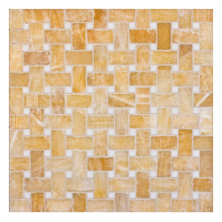 """Marbleville - Honey Onyx 1"""" x 2"""" Basketweave Pattern Polished with 5/8 White Dot Insert Finish - Premium Grade Honey Onyx 1"""" x 2"""" Basketweave Pattern with 5/8 white Dot Insert Polished Mesh-Mounted Marble Mosaic is a splendid Tile to add to your decor. Its aesthetically pleasing look can add great value to the any ambience. This Mosaic Tile is constructed from durable, selected natural stone Marble material. The tile is manufactured to a high standard, each tile is hand selected to ensure quality. It is perfect for any interior/exterior projects such as kitchen backsplash, bathroom flooring, shower surround, countertop, dining room, entryway, corridor, balcony, spa, pool, fountain, etc."""