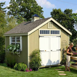 Little Cottage - Little Cottage 12 x 10 ft. Williamsburg Colonial Panelized Garden Shed Multicolo - Shop for Sheds and Storage from Hayneedle.com! Additional FeaturesDoor measures 5W x 6H feetIncludes Z-style shuttersColonial style doors with large hingesDouble doors make entry and exit easyDoor handle latch locksFeatures custom crafted louversTrim and siding are 98% primedHardware to assemble is included The Little Cottage 12 x 10 ft. Williamsburg Colonial Panelized Garden Shed Kit is classic and beautiful and has the lovely look of a small Colonial cottage with all the functionality of a shed or workhouse. Crafted from wood with high-quality siding and trim this shed arrives at your door precut and ready to assemble. The siding and trim are pre-fastened onto wall panel sections saving you time and assuring the panels are square. This cottage shed also has two working windows with glass grids and screens as well Z-style shutters which add just the right finishing touch. The colonial style double doors make entry and exit easy while the door handle locks to keep your items safe. Custom-crafted louvres are also included as well as the hardware needed to assemble the shed.About The Little Cottage CompanyNestled in the heart of Ohio's Amish country The Little Cottage Company resides in a quaint slow-paced setting where old-fashioned craftsmanship and attention to detail have never gone out of style. Their experienced carpenters and skilled designers take great pride in creating top-quality pre-built models and Do-It-Yourself kits of playhouses storage sheds and more.