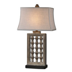 Uttermost - Anacapa Gray Table Lamp - Here's a Mediterranean-inspired lamp, with a decidedly rectangular profile. From the rectangle bell shade to the three spindle open frame center on the black rectangular foot, this handsome, burnished gray table lamp is set to shine some light on your end table or console table without taking up a lot of surface space.
