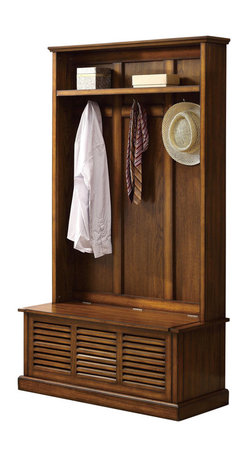 Adarn Inc - Casual Warm Oak Wood Hall Tree Shutter-Style Front Storage Bench Accent Racks - This casual-styled hall tree features a storage bench base, numerous coat hooks, and a top storage shelf for plenty of options to fit your every organizational and storage need. A warm and inviting oak wood finish pairs with stylish back panels and shutter-style front detailing for a feeling of homey simplicity that will give any space a welcoming presence you'll love to come home to at the end of a long day.