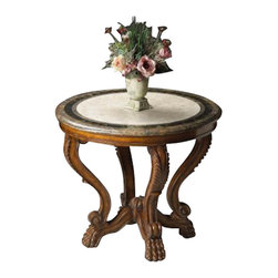 Butler Specialty - Butler Foyer Table - Solid woods, wood products and resin components. Fossil stone veneer top with white fossil stone veneer in center and concentric circles of light and dark snakeskin fossil stone veneer separated by brass inlays.