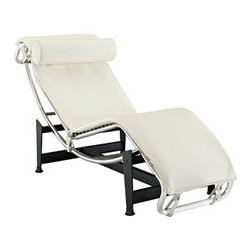 """LexMod - Charles Leather Chaise in White - Charles Leather Chaise in White - The Charles Chaise Lounge offers the ultimate relaxation experience. Its sleek lines definitely make a statement in any room. This lounger features a full range of reclining positions for you to enjoy, providing you with long lasting comfort and quality. The Charles chaise makes a great addition to your modern living style. Set Includes: One - Le Corbusier Chaise Lounge Chair Leather Upholstery, Stainless steel frame, Powder coated steel base, Detachable Headrest Pillow, Protective Rubber Foot Pads Overall Product Dimensions: 65""""L x 22""""W x 29.5""""H Lowest Seat Height: 12""""H - Mid Century Modern Furniture."""