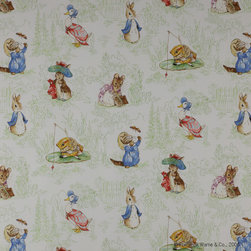 Jane Churchill - Tales Of Beatrix Potter™ Fabric - Peter Rabbit and friends cavort on this sweet fabric, which would be perfect for the nursery or for a fun sewing project. This 100 percent cotton fabric is a soft reminder that everyday is a new chance for storytelling and creativity. The minimum order is two yards, so you could do several pillows or a cute set of curtains from this whimsical, vintage-inspired fabric!