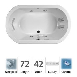 """Jacuzzi - Jacuzzi DUE7242 WCR 4CH W White Duetta 72"""" x 42"""" Duetta  Drop In - Duetta  Collection:  Jacuzzi  is synonymous with luxury and comfort, something you can enjoy in your own home at the end of the day. But what if you wanted to share the experience of a luxury tub with someone else? Jacuzzi s  lush, oval-shaped Duetta  luxury tub is designed with two bathers in mind. Choose from four different measurements—enough room to comfortably share with a loved one. The Duetta  Jacuzzi  Duetta  luxury tub is available as a drop in/undermount configuration with a low-profile deck for a modern, seamless look. And with 16 total jets (Whirlpool and Salon Spa Models) Duetta  collection is sure to create that authentic Jacuzzi  experience that you are after.    Low-Profile Deck - Sleek and slim design limits the raised lip of the tub to appear as nearly flush with the tub surround  For Two - Designed to be spacious enough for two people    Measurements:    72""""L x 42""""W x 26""""H    Luxury Whirlpool:  At its most basic form, the three things needed to create a whirlpool experience are water (moved through a pump), air (mixed with the water), and jets (Therapro and AccuPro). Jacuzzi s  Comfort Whirlpool models do just this. A single speed motor and patented fixed airflow system push mixed water through 5-8 jets. Luxury models take things even further by swapping out the single-speed motor for a multi-speed motor and upgrading the airflow systems to electronically operated and patented Silent Air  Induction technologies. Luxury Models tend to have double (in some cases, triple) the jets of Comfort models, enhanced user controls, and a number of optional high-tech upgrades including Whisper technology, Illumatherapy lighting, and LCD user controls. When Shopping Jacuzzi  Whirlpools it is important to understand what you are looking for. For some,"""