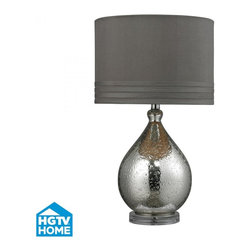 Joshua Marshal - One Light Mercury Glass Grey Taupe Faux Silk, Grey Fabric Liner Shade - One Light Mercury Glass Grey Taupe Faux Silk, Grey Fabric Liner Shade