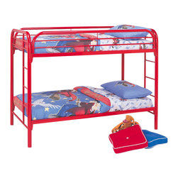 Coaster - Coaster Toby Twin over Twin Metal Bunk Bed in Red Finish - Coaster - Bunk Beds - 2256R - Coaster brings innovative furniture at competitive prices to your home.The Coaster bunk beds are great space savers for your kids room. With a sturdy build and a playful red finish this bunk bed will be perfect for boys or girls.Features: