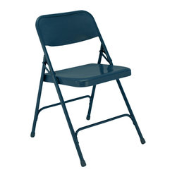 National Public Seating - National Public Seating 200 Series Premium All-Steel Folding Chair in Blue - The 200 Series is the best selling chair of all time from National Public Seating. This model folding chair focuses on the combination of comfort and function with a full size double contoured back and a waterfall seat. These chairs are conveniently portable when used with a chair truck.