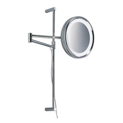 """Decor Walther - Decor Walther SPT 27 Cosmetic Mirror - The SPT 27 Cosmetic Mirror cosmetic mirror has been designed and made by Decor Walther. The noble chrome surface of the    vanity  mirror looks very valued and make applying makeup, shaving  and   other  activities easier and more enjoyable. The SPT 27 cosmetic mirror available  in  5-fold and 8-fold magnification. Hight adjustable cable and switch on backside direct connection not possible.  Product Details:  The SPT 27 Cosmetic Mirror cosmetic mirror has been designed and made by Decor Walther. The noble chrome surface of the    vanity  mirror looks very valued and make applying makeup, shaving  and   other  activities easier and more enjoyable. The SPT 27 cosmetic mirror available  in  5-fold and 8-fold magnification. Hight adjustable cable and switch on backside direct connection not possible. Will be delivered with a voltage adapter 110V to 220V. Details:                                      Manufacturer:                                      Decor Walther                                                                  Designer:                                     In House Design                                                                  Made in:                                     Germany                                                                  Dimensions:                                      Diameter: 10.24"""" (26 cm) X Heigh: 20.47"""" (52 cm) X Depth: 20.87"""" (53 cm)                                                                   Light bulb:                                      1 x G23 Max 7W                                                                  Material:                                      Metal"""