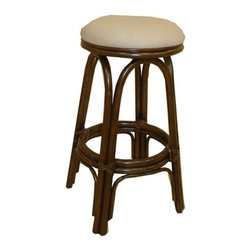 "Hospitality Rattan - Carmen Indoor Rattan 30"" Swivel Bar Stool in Antique Finish - A traditional wicker and rattan swivel bar stool that is built with solid rattan pole construction. The Carmen Collection offers three basic finishes. The bar stools and counter stools feature commercial grade reinforced rattan bases, swivel mechanisms & reinforced double pole footrests. In addition your choice of over 35 fabrics is available on the Carmen Collection. The stool will come with instructions and requires assembly. Features: -Traditional indoor rattan and wicker swivel bar stool. -Finished in antique color. -Includes cushion with choice of fabric in a variety of colors and patterns. -Commercial grade reinforced rattan bases. -Swivel mechanism included. -Reinforced double pole footrests. -Constructed of commercial quality rattan poles. -Requires some assembly (instructions included). -Overall dimensions: 29"" H x 16"" W x 16"" D."