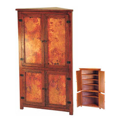 Copper Furniture - Corner Cabinet - La Fuente Imports - This elegant corner cabinet from our Copper Collection is right at home in almost any room and features six spacious shelves of storage. Versatile enough to be a tall kitchen pantry or even a living room armoire. The large copper panels will brighten any decor and complement the distressed wood nicely.