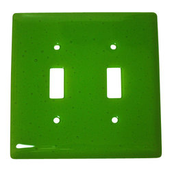 """Aquila Art Glass - Double Wall Plate Switch, Spring Green Transparent, 5x5 - To make a Wall Plates, two pieces of glass are cut, cleaned, stacked together and placed into a kiln. The kiln goes up to 1450 degrees Fahrenheit, and then the glass becomes molten and fuses together to make one piece of glass. The glass goes into a waterjet and the plate is cut out. Then, when the glass is placed onto a mold and taken to 1300 degrees Fahrenheit, the glass becomes elastic and gravity pulls the glass over the mold. We call this process slumping. The glass spends about 48 hours in the kilns. Expect slight variations in color & size. Aquila Art Glass is proud to say """"Our Glass Products are handcrafted in Portland Oregon using high quality handmade materials made in the USA."""""""
