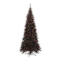 Vickerman Black Slim Fir Pre-lit Christmas Tree - The Vickerman Black Slim Fir Pre-lit Christmas Tree is a crisp black fir tree that boasts a variety of features to make your holiday arrangements easier to manage. The tree features PVC tips with hinged branch construction, as well as an on/off foot pedal switch for your convenience.Specifications for 10-foot tree Shape: Slim Base Width: 50 inches Number of Bulbs: 900 Number of Tips: 2260Specifications for 9-foot tree Shape: Slim Base Width: 46 inches Number of Bulbs: 700 Number of Tips: 1798Specifications for 7.5-foot tree Shape: Slim Base Width: 40 inches Number of Bulbs: 500 Number of Tips: 1238Specifications for 6.5-foot tree Shape: Slim Base Width: 34 inches Number of Bulbs: 400 Number of Tips: 948Specifications for 5.5-foot tree Shape: Slim Base Width: 30 inches Number of Bulbs: 300 Number of Tips: 722Specifications for 4.5-foot tree Shape: Slim Base Width: 24 inches Number of Bulbs: 200 Number of Tips: 400 Don't Forget to Fluff!Simply start at the top and work in a spiral motion down the tree. For best results, you'll want to start from the inside and work out, making sure to touch every branch, positioning them up and down in a variety of ways, checking for any open spaces as you go.As you work your way down, the spiral motion will ensure that you won't have any gaps. And by touching every branch you'll create the desired full, natural look.About VickermanThis product is proudly made by Vickerman a leader in high quality holiday decor. Founded in 1940, the Vickerman Company has established itself as an innovative company dedicated to exceeding the expectations of their customers. With a wide variety of remarkably realistic looking foliage, greenery and beautiful trees, Vickerman is a name you can trust for helping you create beloved holiday memories year after year.