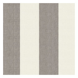 Gray Linen Awning Stripe Fabric - Gray & white awning stripe in luxurious pure linen for an elegant, breezy addition to any classic home.Recover your chair. Upholster a wall. Create a framed piece of art. Sew your own home accent. Whatever your decorating project, Loom's gorgeous, designer fabrics by the yard are up to the challenge!