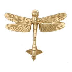 Renovators Supply - Door Knockers Lacq Brass Dragonfly Door Knocker 4 7/8H x 6 3/8W | 17182 - Door Knocker. Knock- knock! Once a sign of their homeowner?s profession- doorknockers now come in a variety of designs & finishes for everyone?s style. Step-up your curb appeal & add value to your home with finishing touches like a knocker. Made of 100% solid brass these knockers are a knock out! Polished & lacquered to prevent tarnishing this knocker is both beautiful & functional. Easy installation- thread bolts through the door for secure mounting. Mounting hardware included. Measures: 4 7/8 in. H x 6 3/8 in. W.