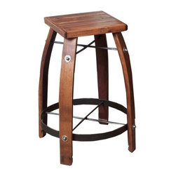 "2 Day Designs - 28"" Stave Stool with Wood Top - This sturdy stool features authentic recycled wine barrel legs and heavy wrought iron braces,  The top is rough sawn pine."