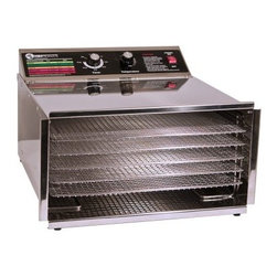 TSM 32603 5 Tray D5 Stainless Steel Dehydrator with Stainless Steel Shelves - About TSM Products Located in Buffalo, NY, TSM Products (The Sausage Maker, Inc.) produces a wide range of food processing products, from dehydrators and sausage stuffers to cherry stoners and cabbage shredders. The company's original Sausage Maker designs are incorporated into each TSM product. With skilled workmanship, dedicated attention to detail, and modern equipment, TSM Products makes a point to provide their customers with the best high-quality machines they can create. The TSM product line is available to customers worldwide.