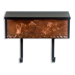 Trout Locking Wall-Mount Copper Mailbox with Newspaper Holder - Perfect for the avid fisherman, this locking wall mount mailbox has jumping trout hand-embossed on the bright copper front, and includes newspaper scrolls to hold your daily paper.