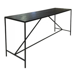 "Oly Studio - Oly Studio Paxton Console - Minimalist style defines the Oly Studio Paxton console table's design. Atop an angular iron base, a rectangular surface provides industrial interiors rich, custom texture. 54""W x 27.5""D x 17.5""H; Available with a resin, wood or hammered aluminum top; Several finish options"