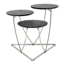 Palecek - Zazu Tiered Tables, Set Of 3 - Embossed leather with stainless steel legs. Tables nest into several interesting design combinations.