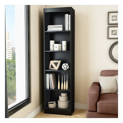 South Shore - South Shore Axess 5-Shelf Narrow Bookcase in Pure Black - South Shore - Bookcases - 7270758 - Ideal for your binders books or decorative items this versatile 5-shelf bookcase can meet all your storage needs even in tight spaces. Both functional and attractive with its sleek contemporary styling this bookcase is sure to enhance the look of any room in your home.