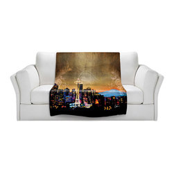 DiaNoche Designs - Throw Blanket Fleece - Corina Bakke Seattle Skyline - Original Artwork printed to an ultra soft fleece Blanket for a unique look and feel of your living room couch or bedroom space.  DiaNoche Designs uses images from artists all over the world to create Illuminated art, Canvas Art, Sheets, Pillows, Duvets, Blankets and many other items that you can print to.  Every purchase supports an artist!