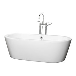 Wyndham Collection - Soaking Bathtub - Includes cable driven pop up drain and waste overflow. Tub filler not included. Adjustable base for accurate leveling and stability. Maximum Fill: 63 gallons. Made from acrylic. White color. Exterior: 71 in. L x 33.5 in. W x 23.25 in. H. Interior: 65 in. L x 27 in. W x 18 in. H at top. Depth at drain: 18.5 in.. Assembly InstructionsThe Mermaid Soaking Tub is an expression of modern design, practicality and just plain luxury. Elegant symmetry, soft curves that counter the minimalist lines, and soothing water conspire to coax you into your bathroom haven once again. What could be better? Built to last and always warm to the touch, the Verona Bathtubs are a perfect place to melt away tension and stress, leaving you refreshed, recharged and renewed. Much deeper than standard tubs for full immersion. Warmer to the touch and more comfortable than traditional enamel or steel tubs