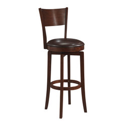 Hillsdale Furniture - Hillsdale Archer Swivel 30 Inch Barstool - The Archer, available in a brown finish, is a 360 degree swivel bar stool with a dark brown faux leather seat, a transitional arched back design and simple, tapered and slightly flared legs. Composed of hardwoods and climate controlled wood composites, minor assembly required.