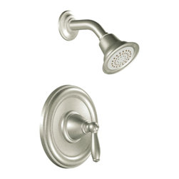 "Moen - Moen T2152BN Brushed Nickel Posi-Temp Shower Valve Trim 1-Function Cartridge - Moen T2152BN is part of the Brantford bath collection. Moen T2152BN is a new bathroom decor style by Moen. Moen T2152BN has a Brushed Nickel finish. Moen T2152BN Posi-Temp Shower valve only trim fits any MPact common valve system or MPact Posi-Temp 1/2"" valve available separately. Moen T2152BN is part of the Brantford bath collection, featuring its beautiful look and timeless appeal. This collections traditional style complements any homes decor. Moen T2152BN Shower valve trim includes single-function pressure balancing Cartridge. Back to back capability. Moen T2152BN is a single handle shower valve trim only, the handle adjusts temperature. Moen T2152BN valve only single handle trim provides for ease of operation. Moen T2152BN Posi-Temp pressure balancing valve maintains water pressure and controls temperature. Moen T2152BN includes Easy Clea"" xLT single function showerhead 2.5 GPM max. Moen T2152BN is ADA approved. Brushed Nickel has a Lifeshine finish guarantee from Moen and provides style and durability. Moen T2152BN metal lever handle meets all requirements ofADA ICC/ANSI A117.1 and CSA to meet CSA B-125, ASME A112.18.1 M. Lifetime Limited Warranty."