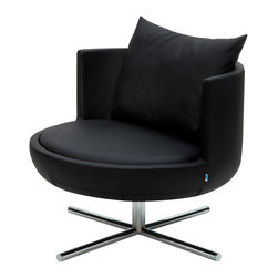 B&T Design - Round Lounge Chair, Gazebo Eco-Leather Black - 991 - Round Lounge Chair