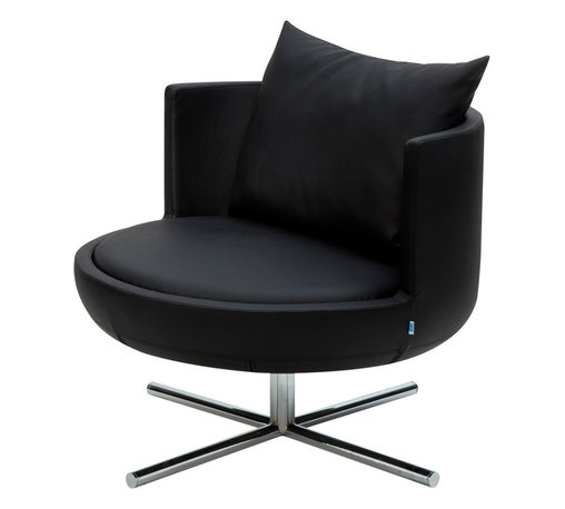 B&T Design - Round Lounge Chair, Gazebo Eco-Leather Black - 991 - Round Lounge Chair