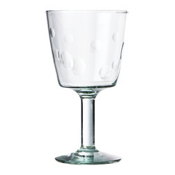 Be Home - Recycled Footed Glasses With Dots, Set of 6 - Drink in the style. This set of six 7-ounce glasses is made from 100 percent recycled soda bottles through a fair-trade program in Bolivia. Each has a footed base and polka dots so cute you could goblet up.