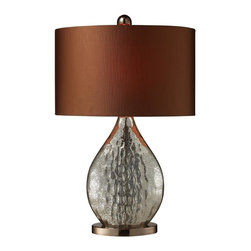 Dimond Lighting - D1889-LED Sovereign Table Lamp, Antique Mercury Glass - Modern Contempo Table Lamp with Antique Mercury Glass glass from the Sovereign Collection by Dimond Lighting.