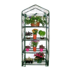 "Gardman USA - 4 Tier Mini Greenhouse - 4 TIER MINI GREENHOUSE - 5'3"" high x 2'3"" wide x 1'6"" deep. Ideal for limited spaces. Shelving included. Includes wall fixing rings and guy ropes.  This item cannot be shipped to APO/FPO addresses. Please accept our apologies."