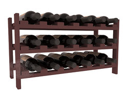 18 Bottle Stackable Wine Rack in Pine with Walnut Stain - Expansion to the next level! Stack these 18 bottle kits as high as the ceiling or place a single one on a counter top. Designed with emphasis on function and flexibility, these DIY wine racks are perfect for young collections and expert connoisseurs.