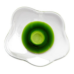 Cyan Design - Emerald Poppy Bowl - Large - Large emerald poppy bowl - clear and green