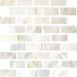 """Susan Jablon Mosaics - Quarter Sheet of White Mother Of Pearl Shell - These 1/2 x 1 1/4 Inch Mother Of Pearl Tiles . Hand cut 1/2"""" x 1 1/4"""" white mother of pearl shell. A perfect match for any counter top. This tile is a stunning natural, organic backsplash treatment."""