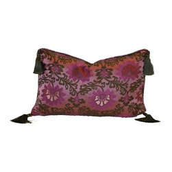 Used Purple Lotus Silk Brocade 12x18 Pillow - Layering on the perfect throw pillow is the cherry on top for achieving an effortlessly styled effect in your room. This adorable 12x18 purple silk pillow features a lotus design, corner tassels, piping, and a down/feather insert.    We have 2 pillows available. If you would like more than one, please contact support@chairish.com.