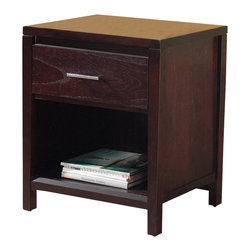 Modus Furniture - Modus Nevis Charging Station Nightstand in Espresso - Crafted from Tropical Mahogany solids and a variety of beautiful veneers, the Nevis collection Features Solid wood drawer boxes with English dovetail joints on both front and back, Full extension ball bearing drawer glides, and are corner blocked to ensure rigidity, making them as functional as they are sleek. The wide variety of pieces are enhanced by an elaborate American finishing process in either a rich Spice or a deep, dark Espresso, both complimented by brushed chrome hardware. Together with a vast array of contemporary platform, low profile and sleigh bed styles, the Nevis collection blends the sleek and exotic with the functional.