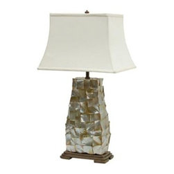 Palecek - Black Lip Shell Lamp - Exquisite black lip shell is hand cut in a concave pattern  -All shell used is non-endangered  -Metal base is finish in a multi tone brown finish  -Silk shade 16L x 12.25W x 10.75H  -Finial in brown metal to match base  -3 way turn key switch at socket  -Cord from lamp base to plug averages: 6 1/2'.  -Shade Dimensions: 16L x 12.25W x 10.75H Palecek - 287702